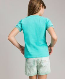 "Jersey T-shirt with lace ""Island Paradise"" Light Blue Child 191GJ2180-03"
