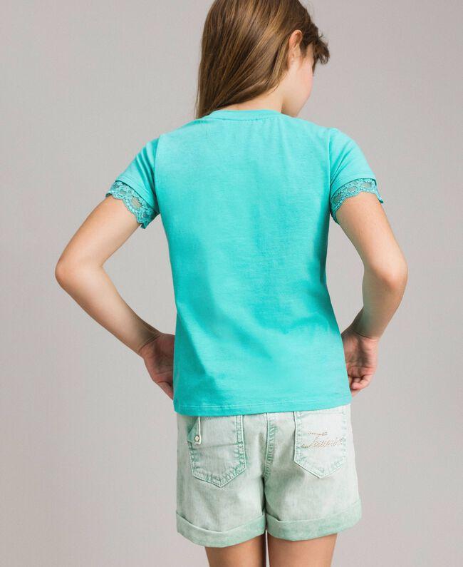"""T-shirt en jersey orné de dentelle Bleu Clair """"Île du Paradis"""" Enfant 191GJ2180-03"""