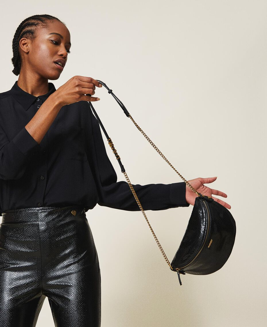 Animal print leather shoulder bag Black Python Print Woman 202TD8021-0S