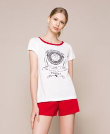 """Printed short pyjamas Two-tone Ivory / """"Pomegranate"""" Red Woman 201LL23EE-01"""