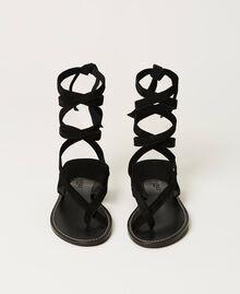 Suede thong sandals Black Woman 211TCT060-04