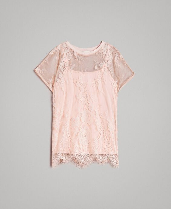Top in jersey e blusa in pizzo
