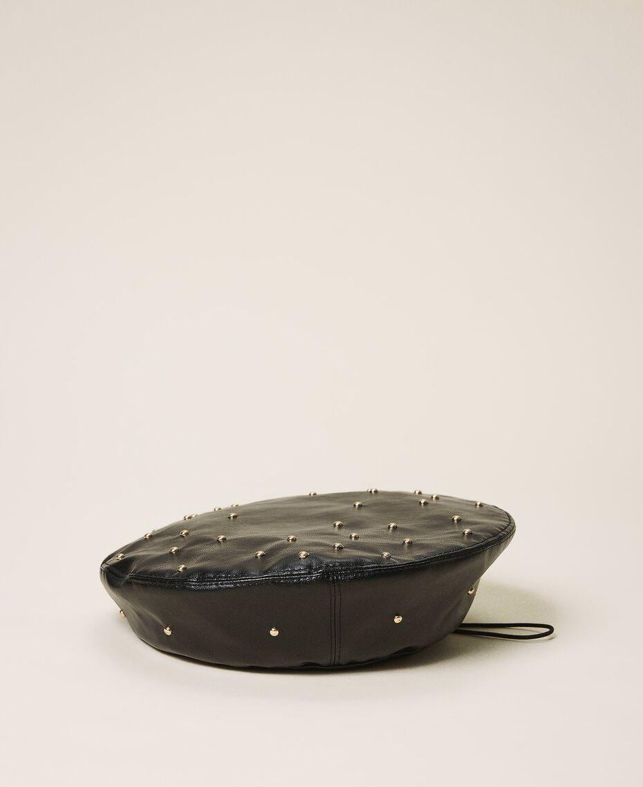 Baskenmütze aus Lederimitat mit Nieten Schwarz Kind 202GJ4930-01