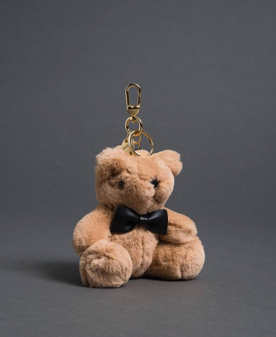 Faux fur teddy bear keyring