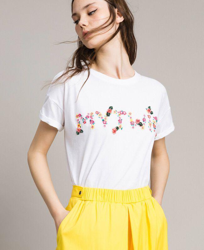 T-Shirt mit gesticktem Logo White Sahne Frau 191MP2061-01