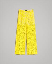 Pantalones palazzo de encaje de macramé Amarillo Fluo Mujer 191MT2154-0S