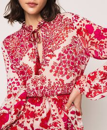 Blouse en crêpe georgette imprimé paisley Imprimé Paisley Rouge «Lave» / Rose«Boutons de Fleurs» Femme 201TP2531-04