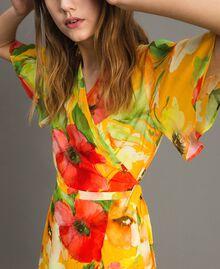 Robe de georgette à imprimé floral Gros Imprimé Fleur Jaune Femme 191TT2482-05