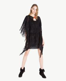 Poncho jacquard Noir Femme TS835D-01