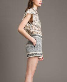 "Ethnic-motif jacquard shorts ""Marzipan"" Beige / Black Jacquard Woman 191TT2432-03"