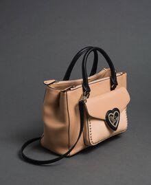 Two-tone faux leather shopper Irish Cream / Blossom Pink Woman 192MA7100-01