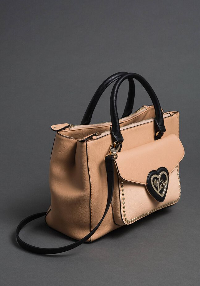 Two-tone faux leather shopper