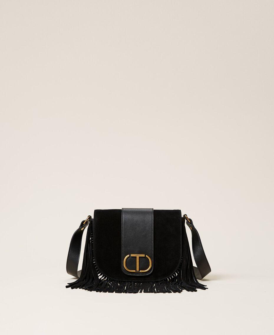 Leather shoulder bag with fringes Black Woman 212TB7120-01