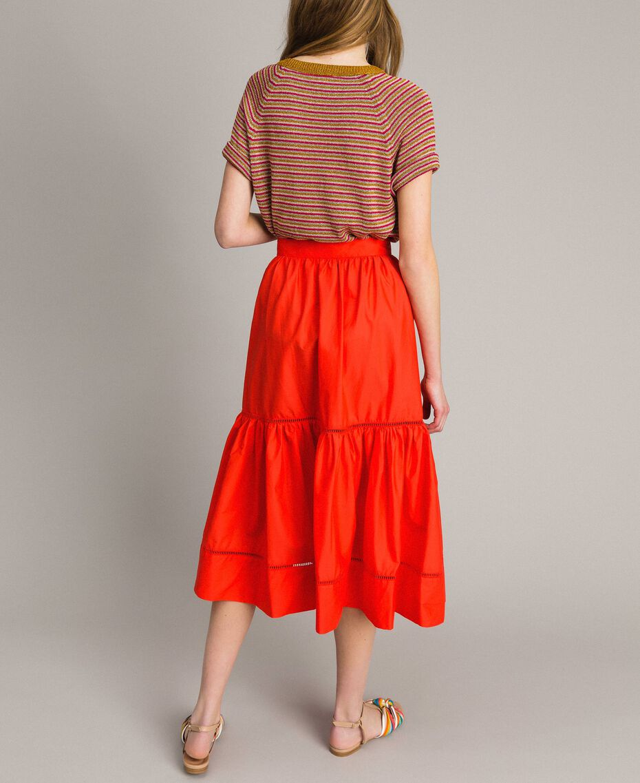 Poplin mid-length skirt Granadine Red Woman 191TT224B-03