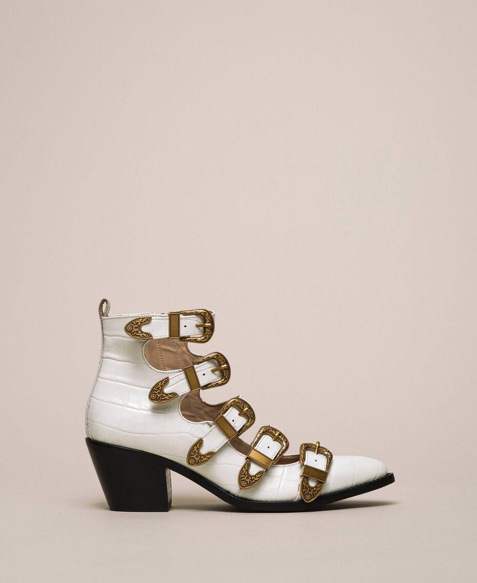 "Leather Texas boots with crocodile print ""Snow"" White Crocodile Print Woman 201TCP05A-02"