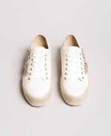 Sneakers mit Steinapplikation und Logo Porzellan Beige Frau 191MCP03A-05
