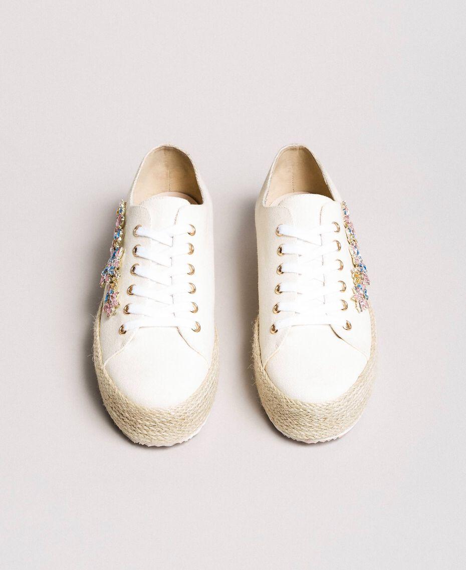 Sneakers con pietre applicate e logo Porcellana Beige Donna 191MCP03A-05