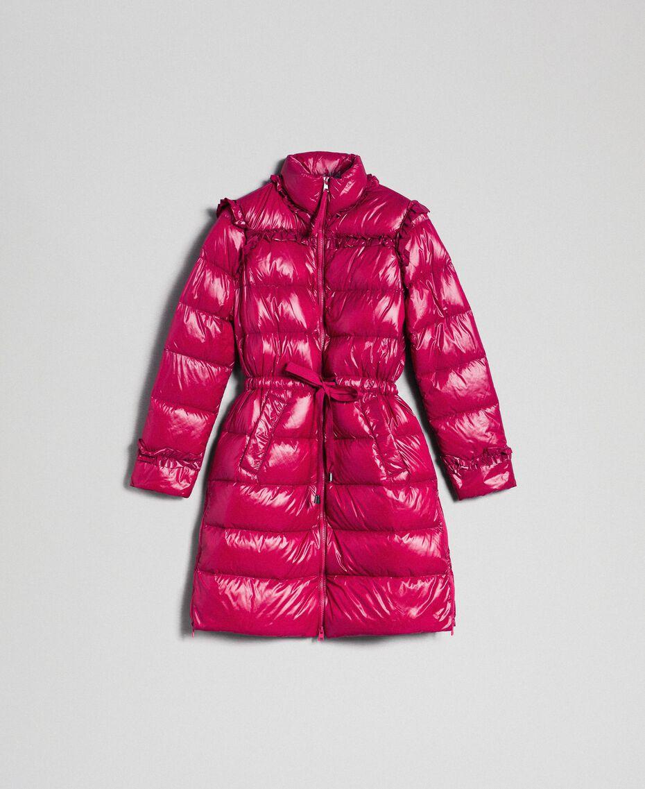 Doudoune longue matelassée en plumes véritables Rouge Betterave Femme 192TP2201-0S
