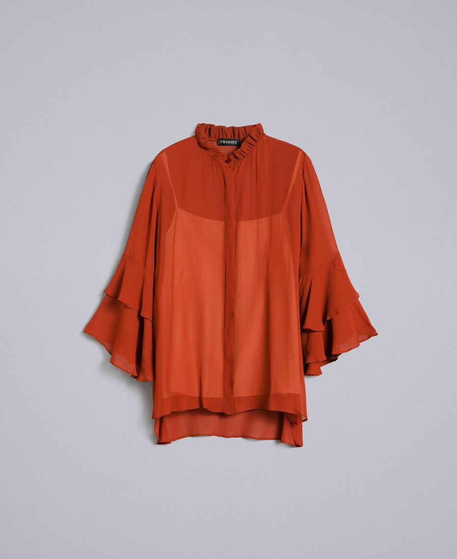 Georgette shirt with ruches Reddish Brown Woman TA828A-0S