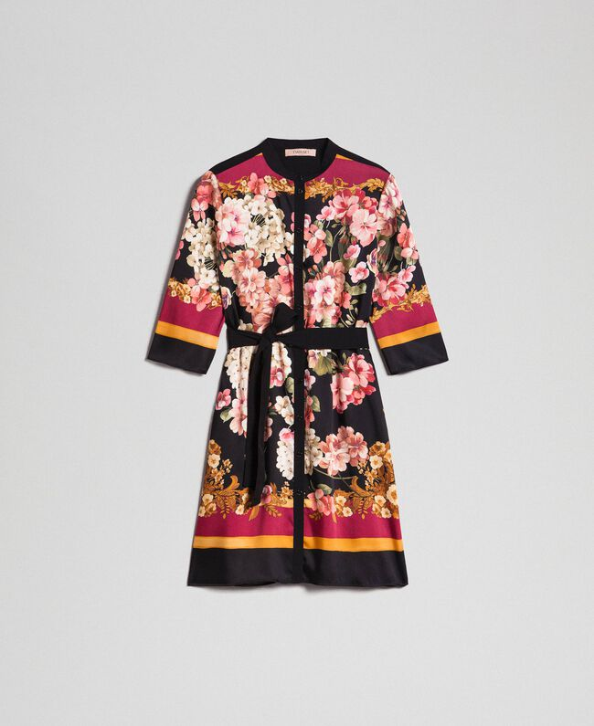 Robe chemisier avec imprimé foulard floral Imprimé Foulard Placé Femme 192TP2601-0S