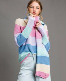 Écharpe jacquard rayée en coton Multicolore Couleur Pastel Femme 191MA4301-0S