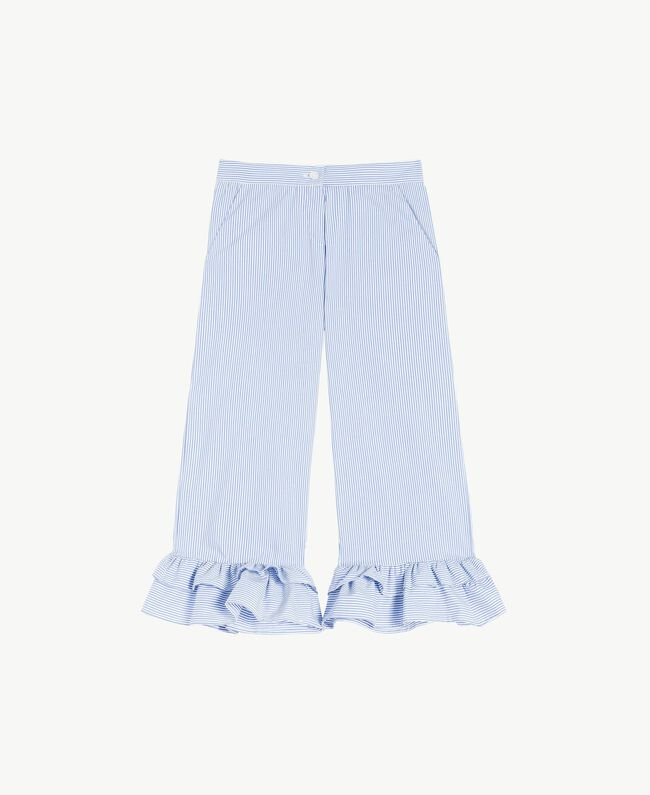 Hose aus Popeline Streifen-Jacquard Azur Kind GS82LT-01