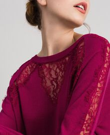 Jumper with lace inlays Beet Red Woman 192TP3172-04