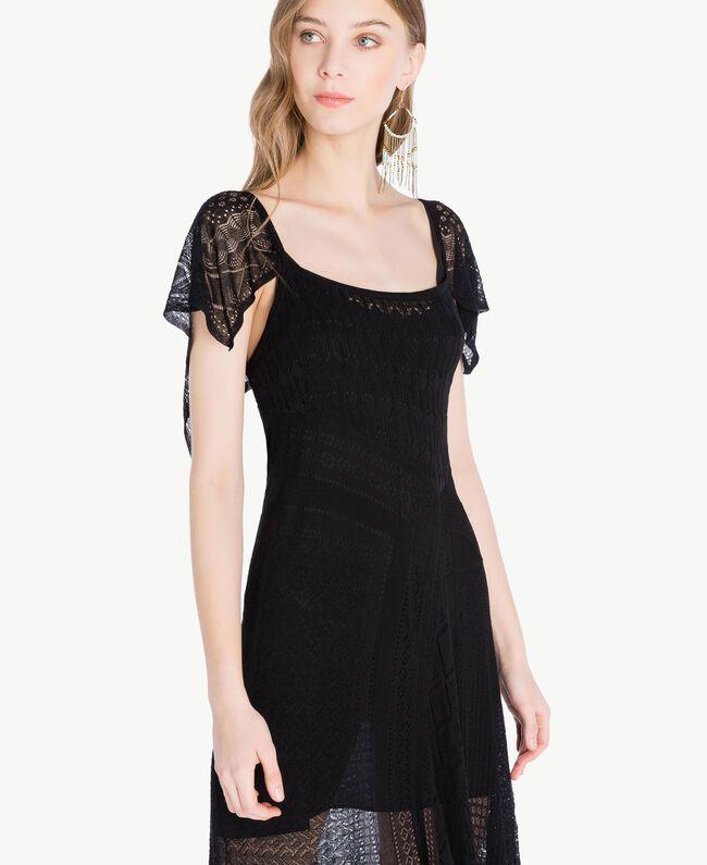 Kleid aus Viskose Schwarz Frau TS83AB-04