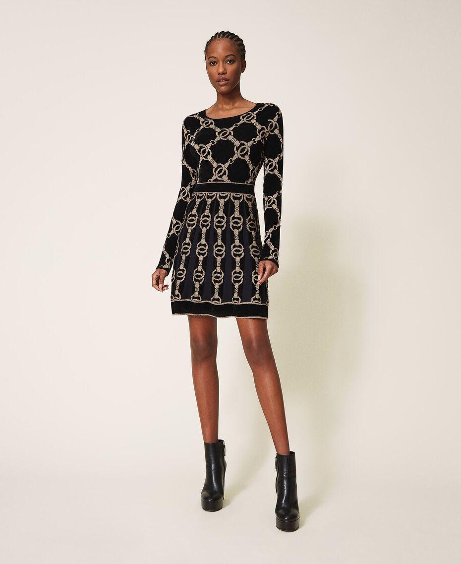Robe en maille jacquard avec motif de chaînes Jacquard Chaîne Noir Femme 202TT3161-01