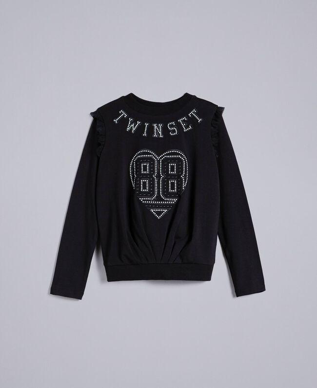 Jersey sweatshirt with pearls and tulle Black Child GA82U2-01