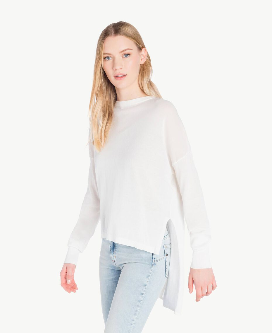 Asymmetric jumper White Woman JS83GA-02
