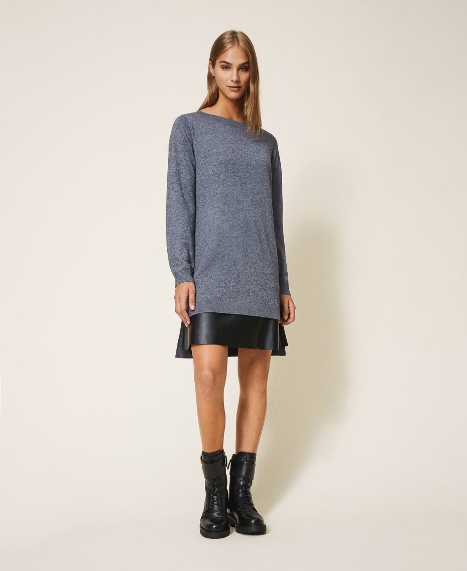 Knit dress with slip Medium Gray Mélange Woman 202ST3221-01