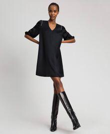 Satin dress with rhinestones Black Woman 192LI21SS-01