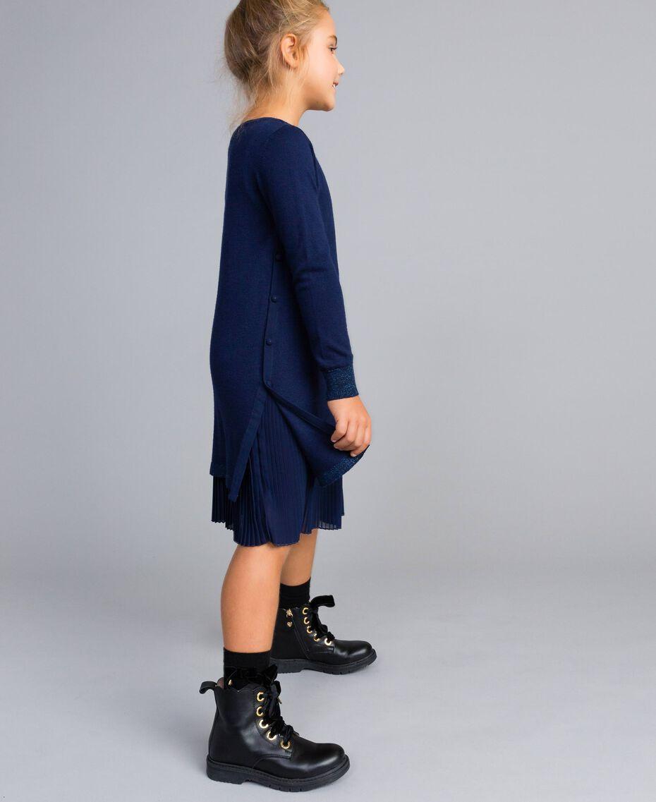 Robe en maille et fond de robe en jersey Bleu Blackout Enfant GA83B2-02