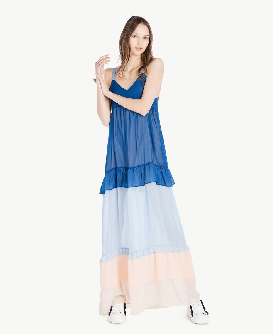 Robe longue volants Multicolore Bleu Marine «Pivoine» Femme SS82DD-01