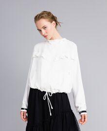 Jacke aus Georgette mit Rüschen Weiß Schnee Frau PA82HA-01