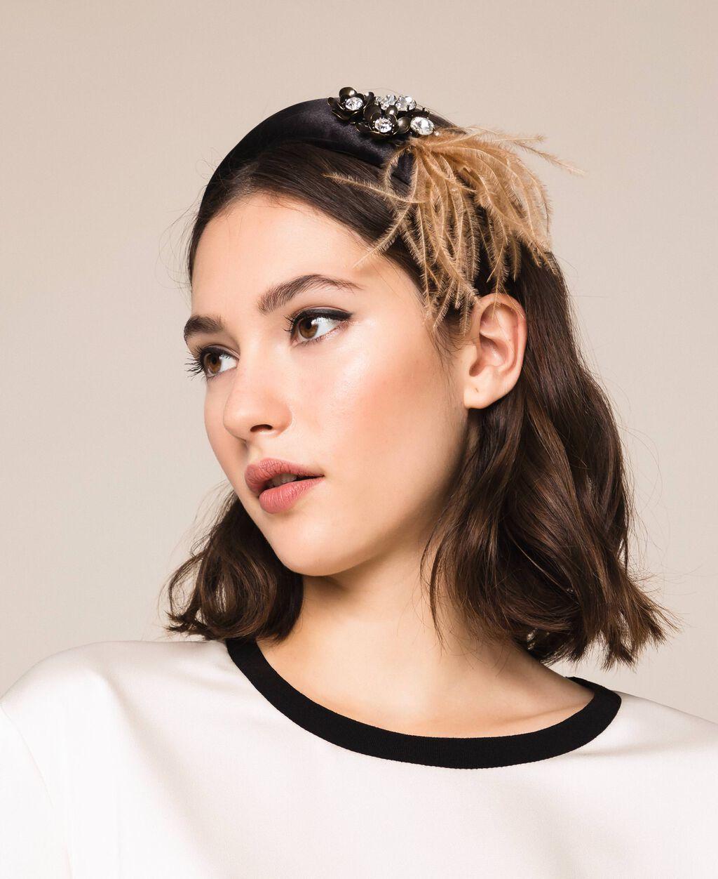 Satin headband with bezels, feathers and rhinestones