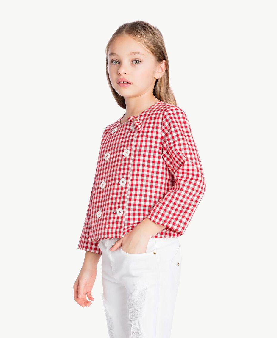 Gingham jacket Gingham / Pomegranate Red Jacquard Child GS82ZA-03