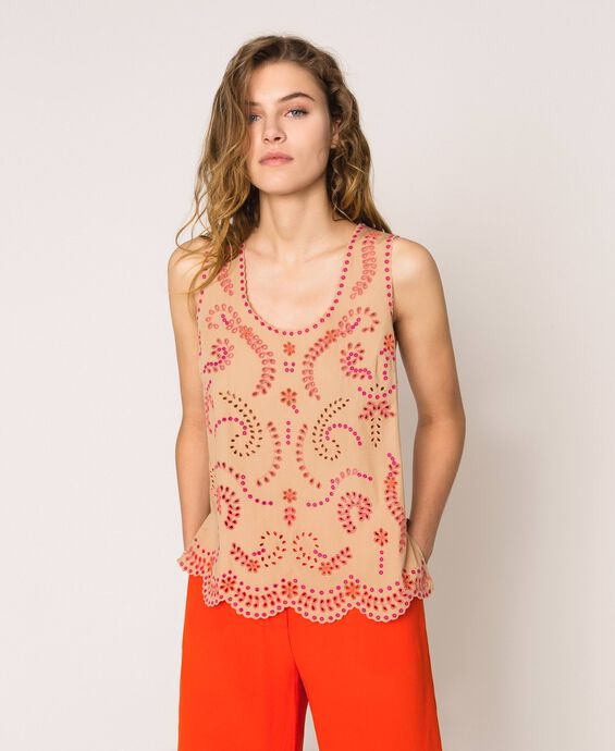Poplin top with multicolour broderie anglaise