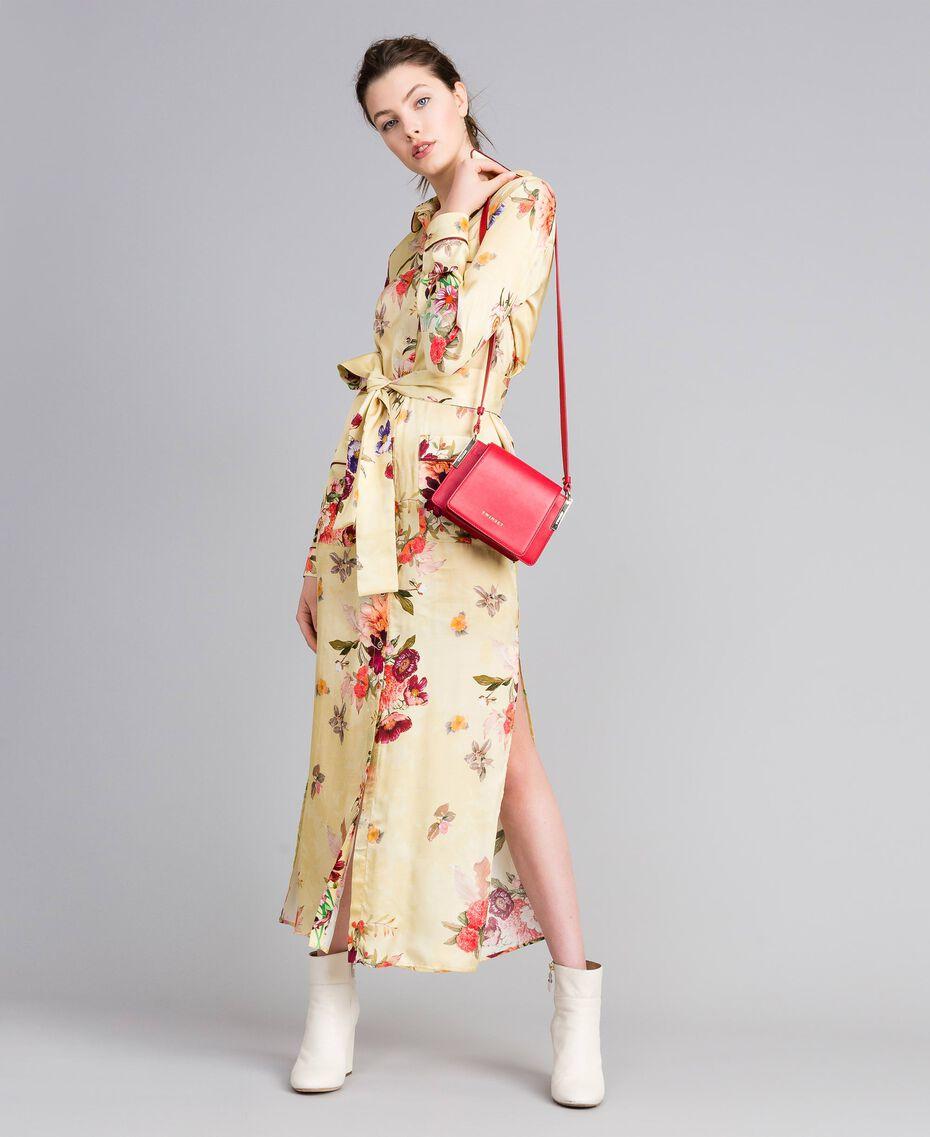 Robe longue chemisier en satin floral Imprimé Rose «Tea Garden» Femme PA829S-0T