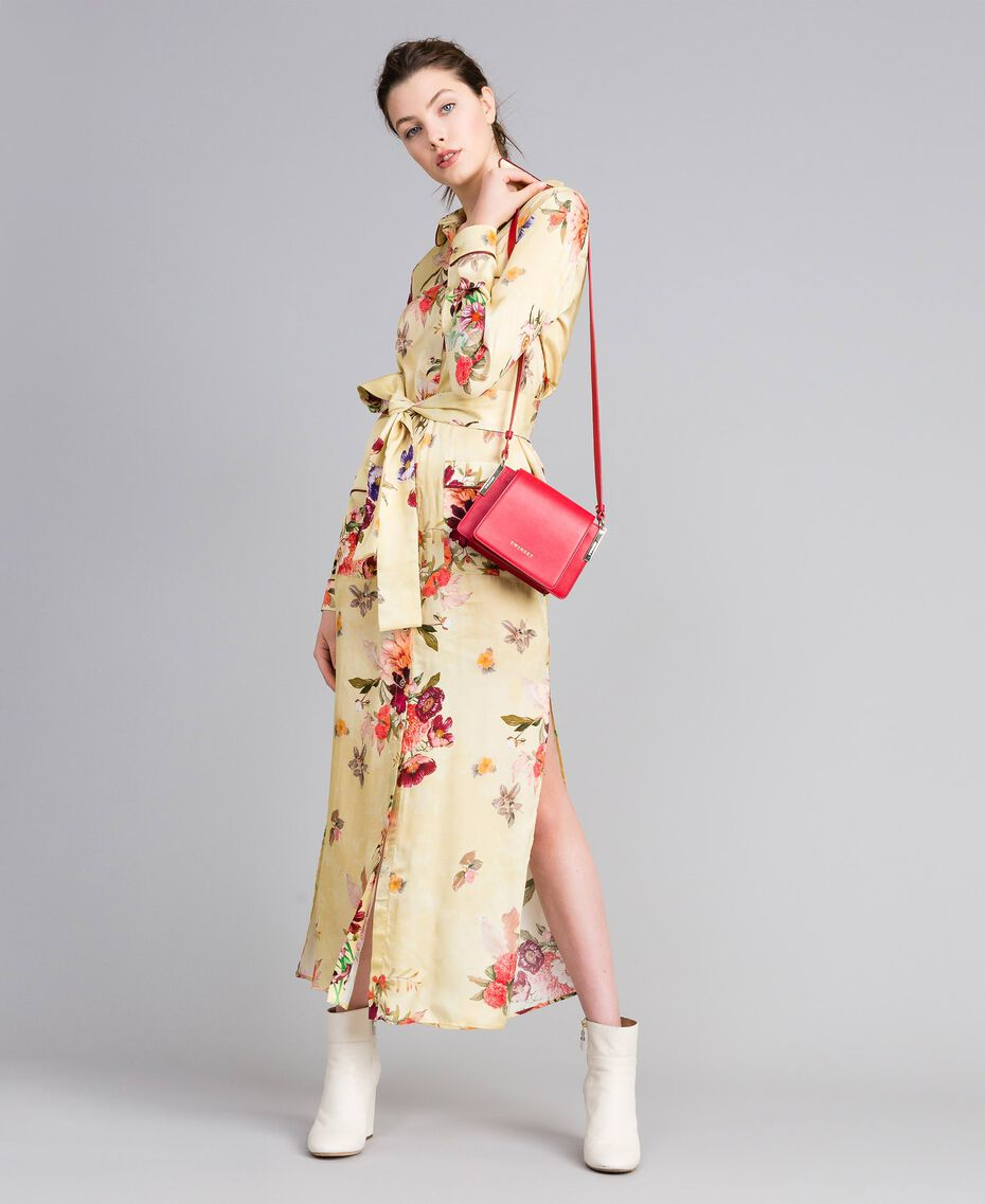 "Long floral print satin shirt dress ""Tea Garden"" Pink Print Woman PA829S-0T"