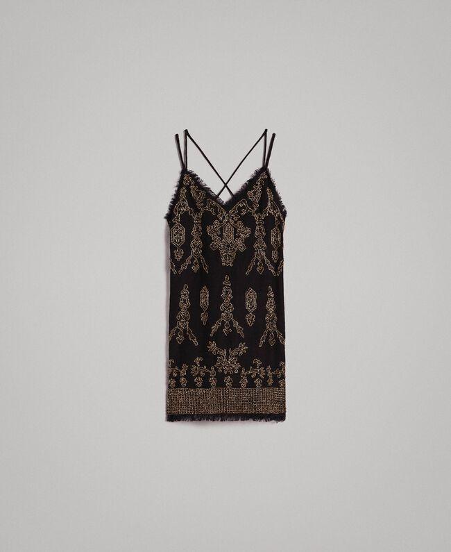 85dedbfe35ba Vestido de lino con cuentas y lentejuelas Mujer, Negro | TWINSET Milano