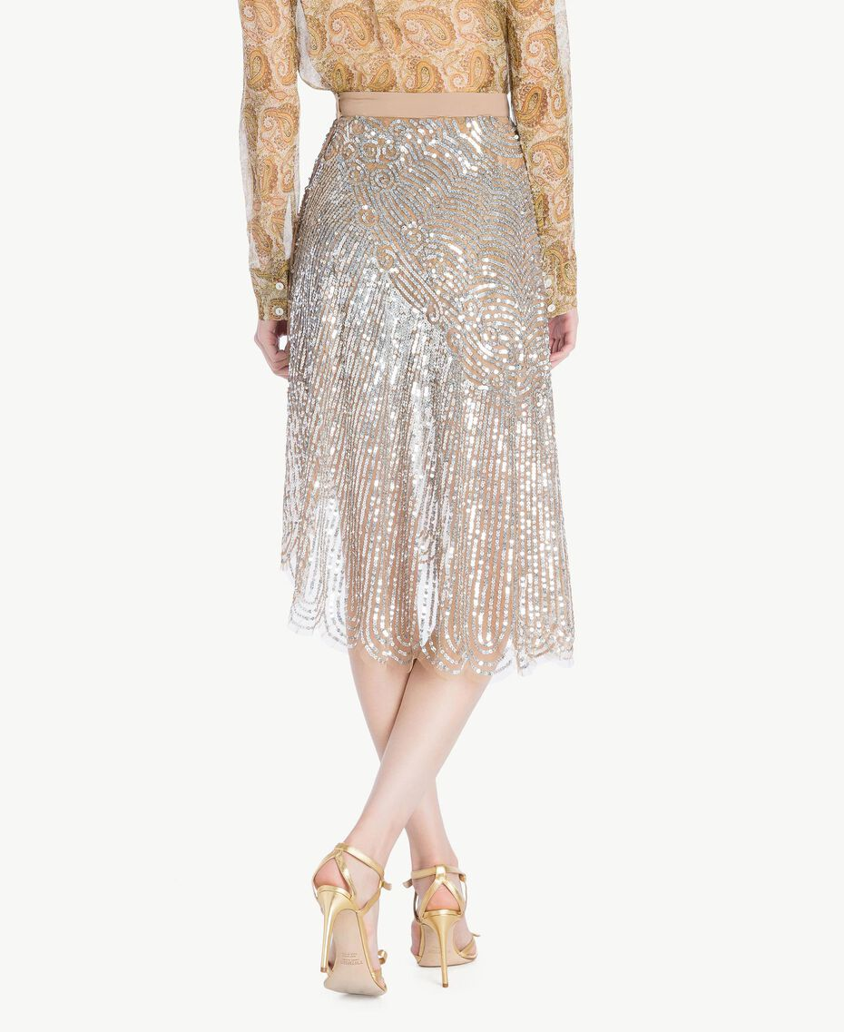 All over sequin skirt Dark Silver Woman TS82EB-03