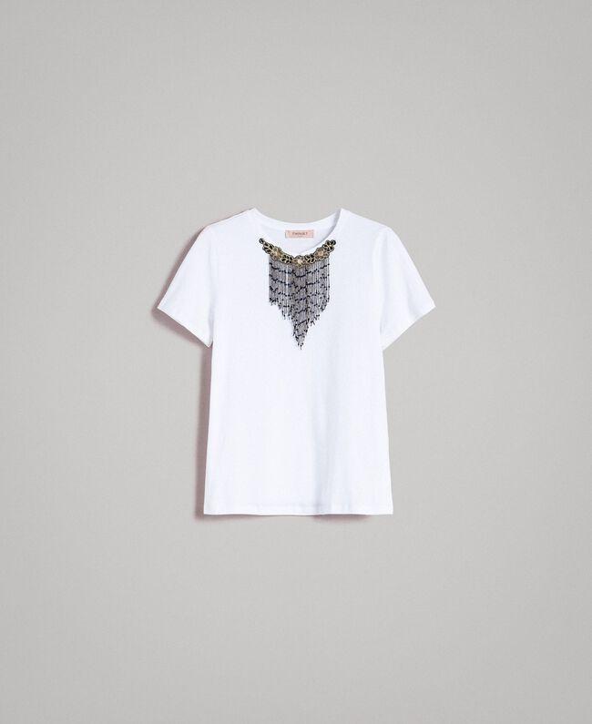 T-Shirt mit Stickerei und Fransen Weiß Frau 191TT2204-0S