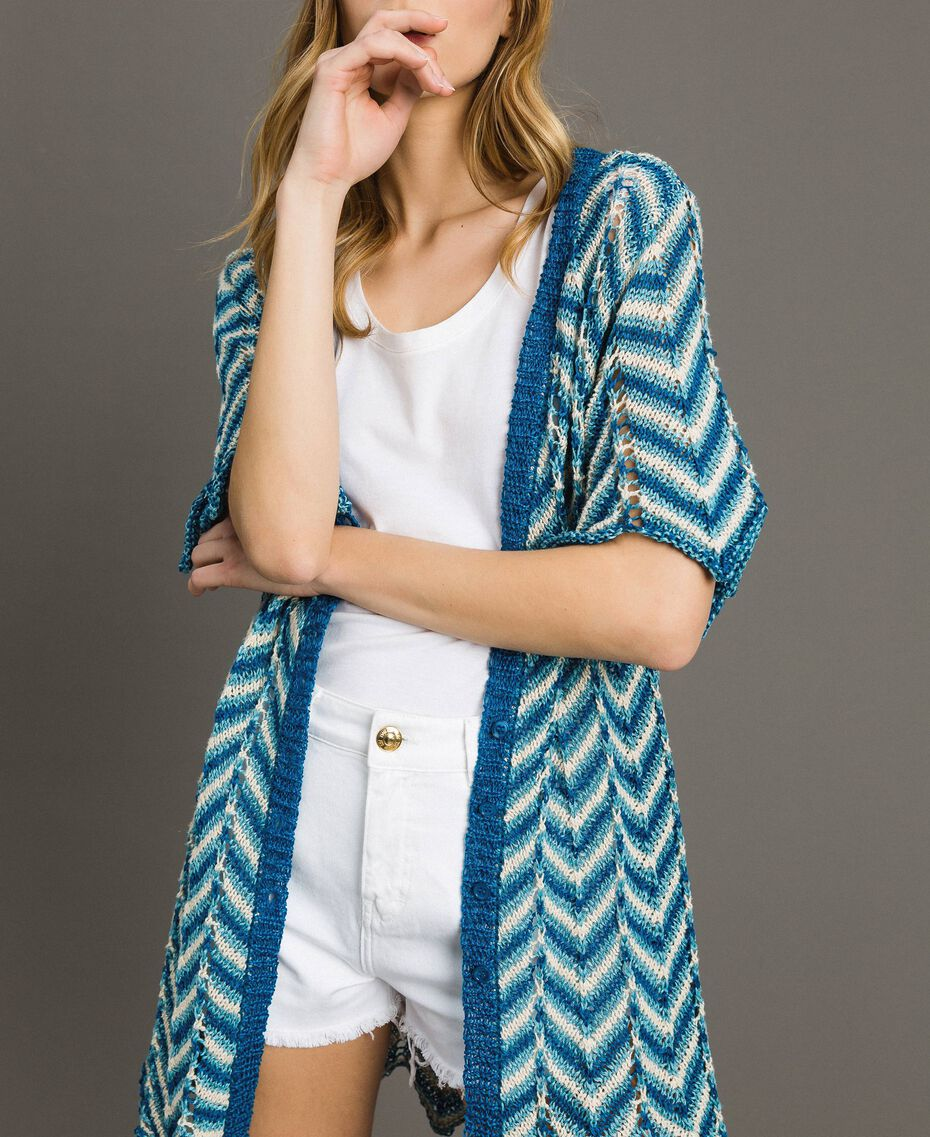 Knitted lurex cardigan Antigua Blue Woman 191LM3KAA-01