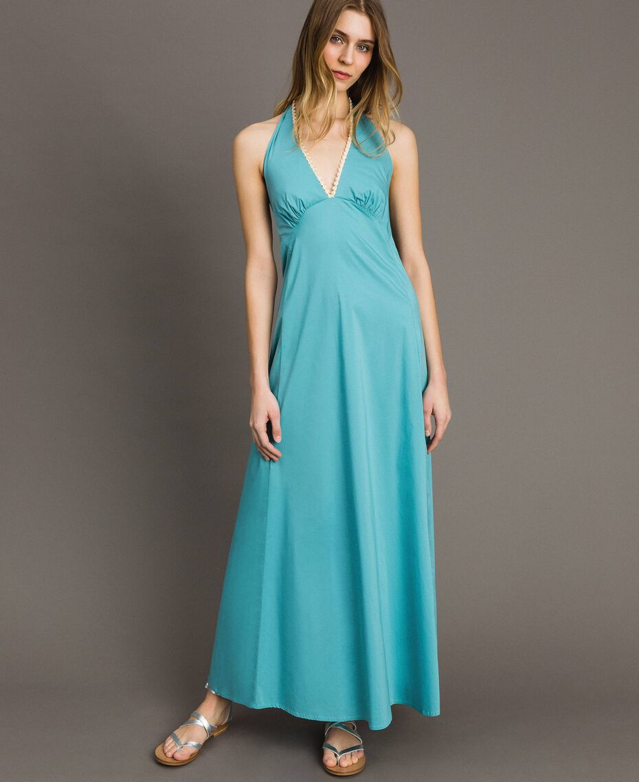Abito lungo in popeline Blue Mousse Donna 191LB2JBB-02