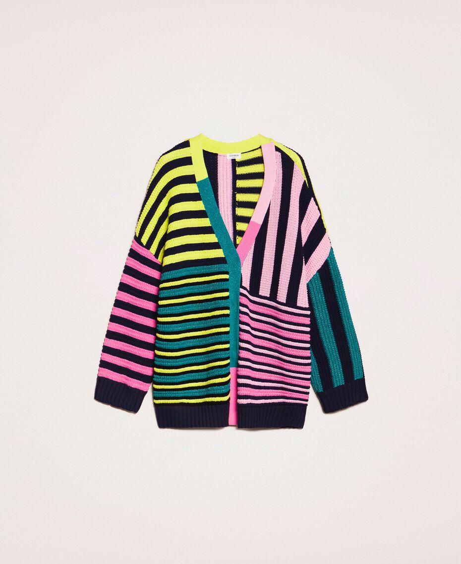 Maxicardigan mit mehrfarbigen Streifen Multicolor Frau 201ST3100-0S