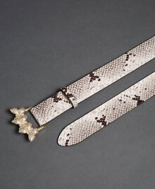 Leather belt with rhinestone buckle Rock Python Print Woman 192TO5343-03
