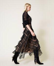 Long tulle skirt with pleated flounces Dark Raspberry Woman 212TP2204-02