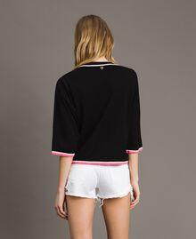 Pailletten-Pullover mit kontrastierenden Verzierungen Multicolour Black / Motiv Schwarze Blumen Frau 191MT3110-03
